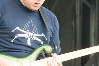 "Jon ""Barber"" from tDB rocking the LostinSound shirt at Camp Bisco!"